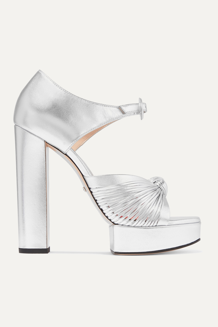 Gucci Crawford knotted metallic leather platform sandals