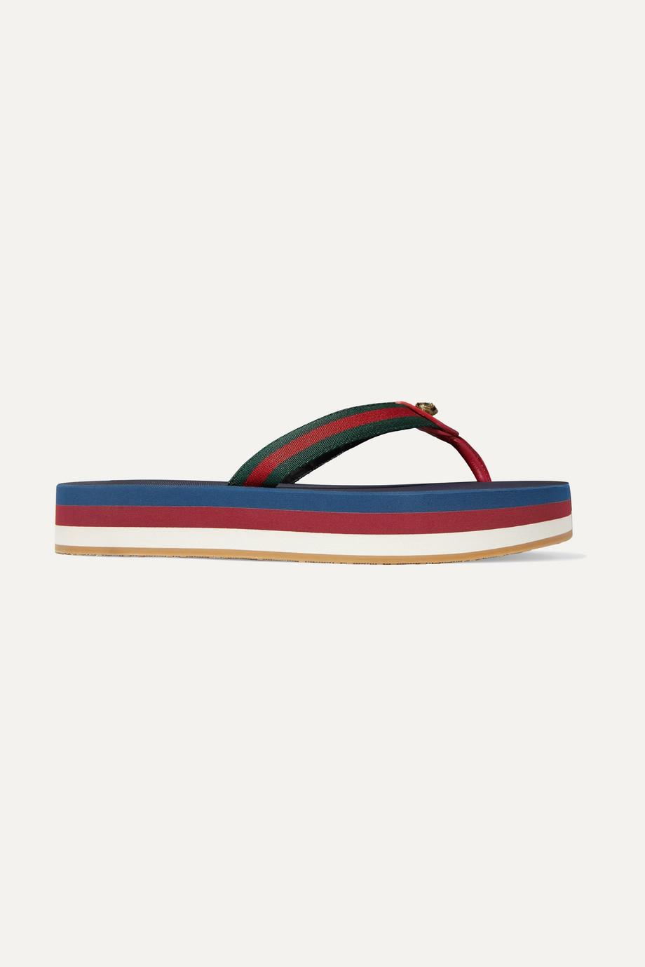 Gucci Embellished leather-trimmed striped canvas platform flip flops