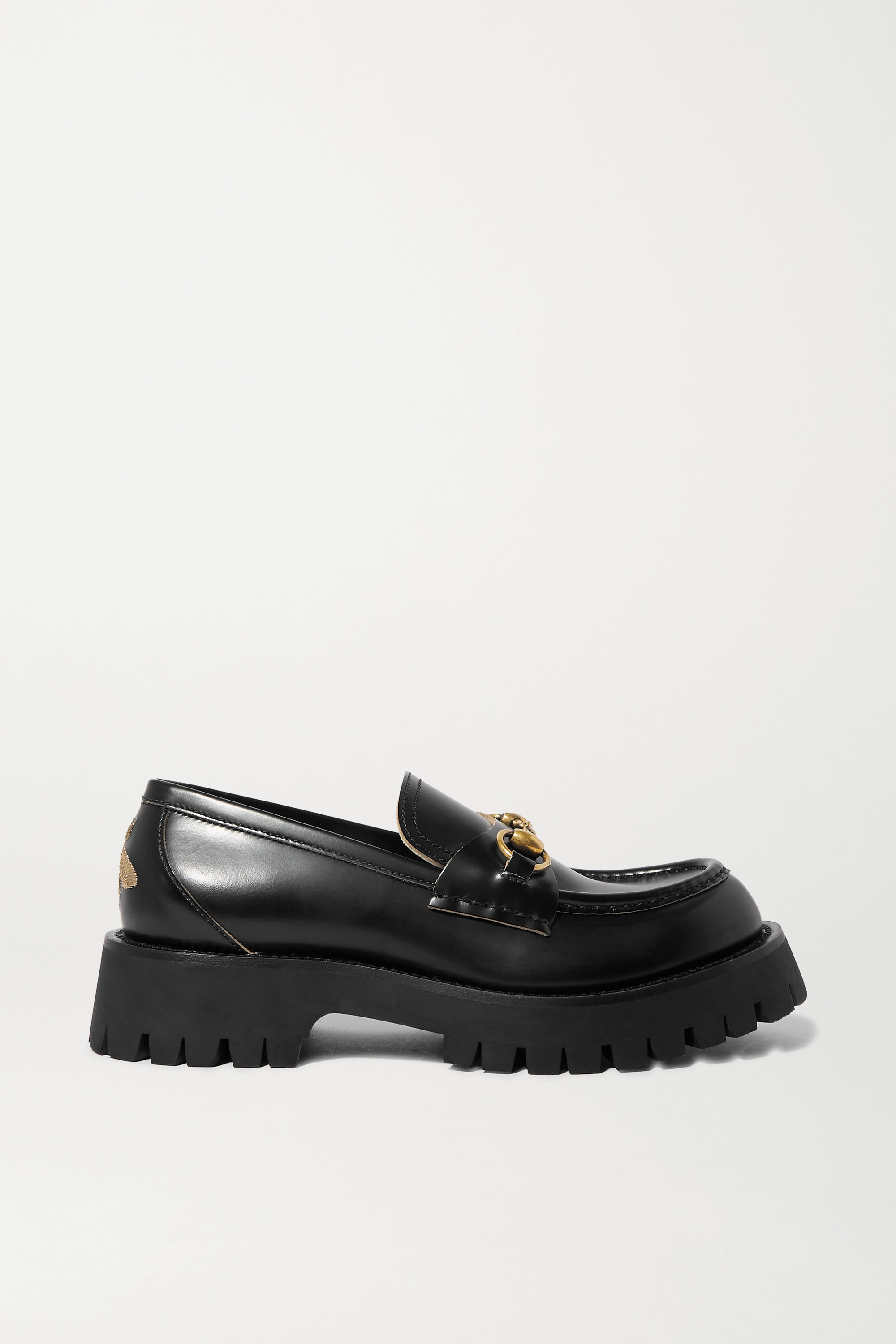 Gucci Horsebit-detailed metallic embroidered leather platform loafers