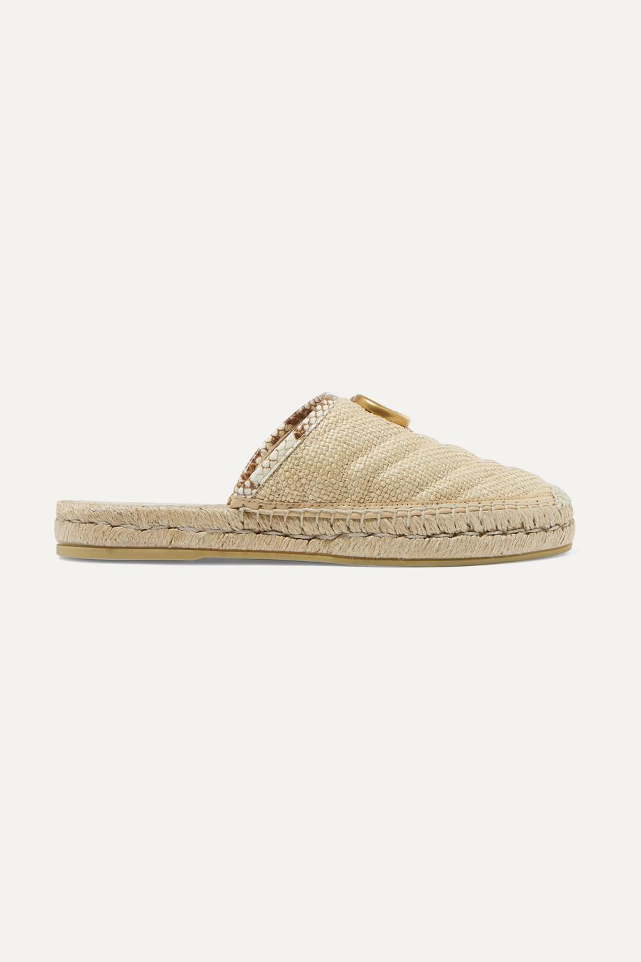 Gucci Pilar elaphe-trimmed raffia espadrille slippers