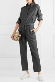 Bead-embellished belted wool jumpsuit
