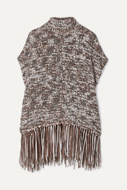 Fringed sequined chunky-knit turtleneck poncho