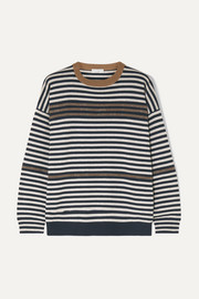 Embellished striped wool cashmere and silk sweater