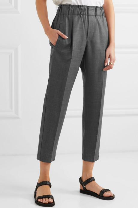 Cropped bead-embellished wool tapered pants