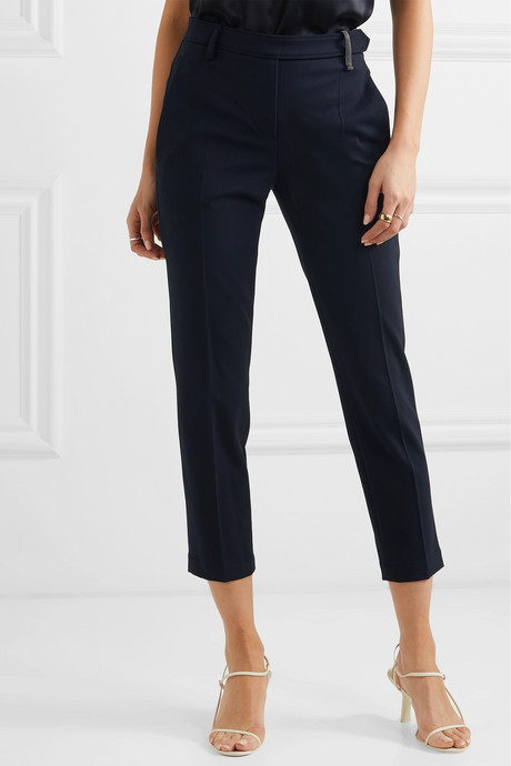Cropped bead-embellished wool-blend tapered pants
