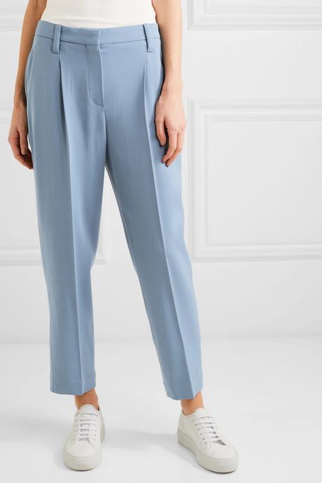 Cropped wool-blend pants