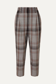Brunello Cucinelli Cropped plaid wool tapered pants