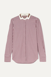 Bead-embellished stretch silk-trimmed striped cotton shirt