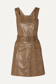 Lorena belted snake-effect vegan leather mini dress