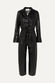 Ana Jumpsuit aus veganem Leder mit Cut-out