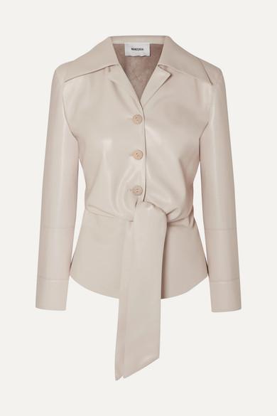 Nanushka Leathers Poppy tie-front vegan leather shirt