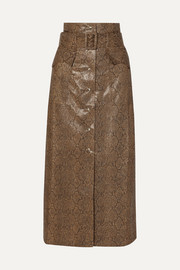 Nanushka Aarohi belted snake-effect vegan leather midi skirt