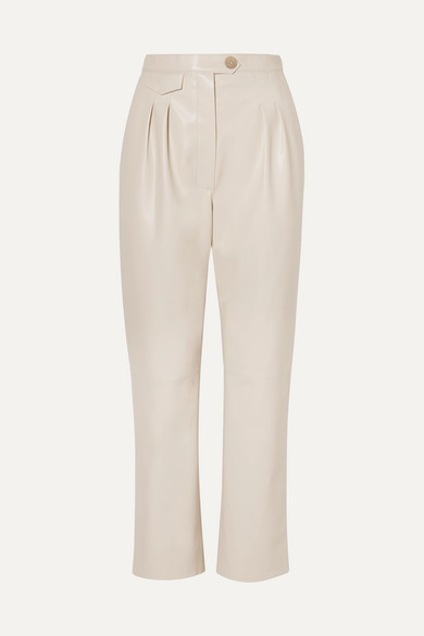 Nanushka Pants Mitsu cropped vegan leather straight-leg pants