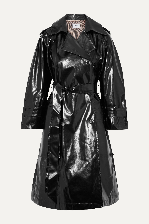 Nanushka Ambar belted vinyl trench coat