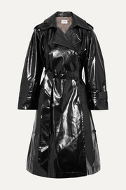 Ambar belted vinyl trench coat