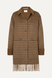 Marzy fringed checked wool and silk-blend coat