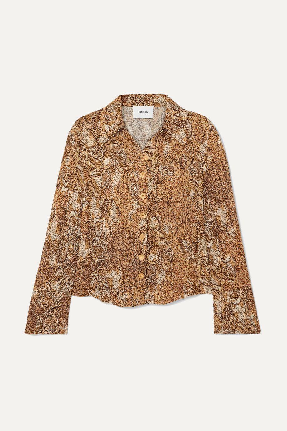 Nanushka Alena snake-print crinkled-voile shirt
