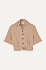 Cayne belted woven shirt