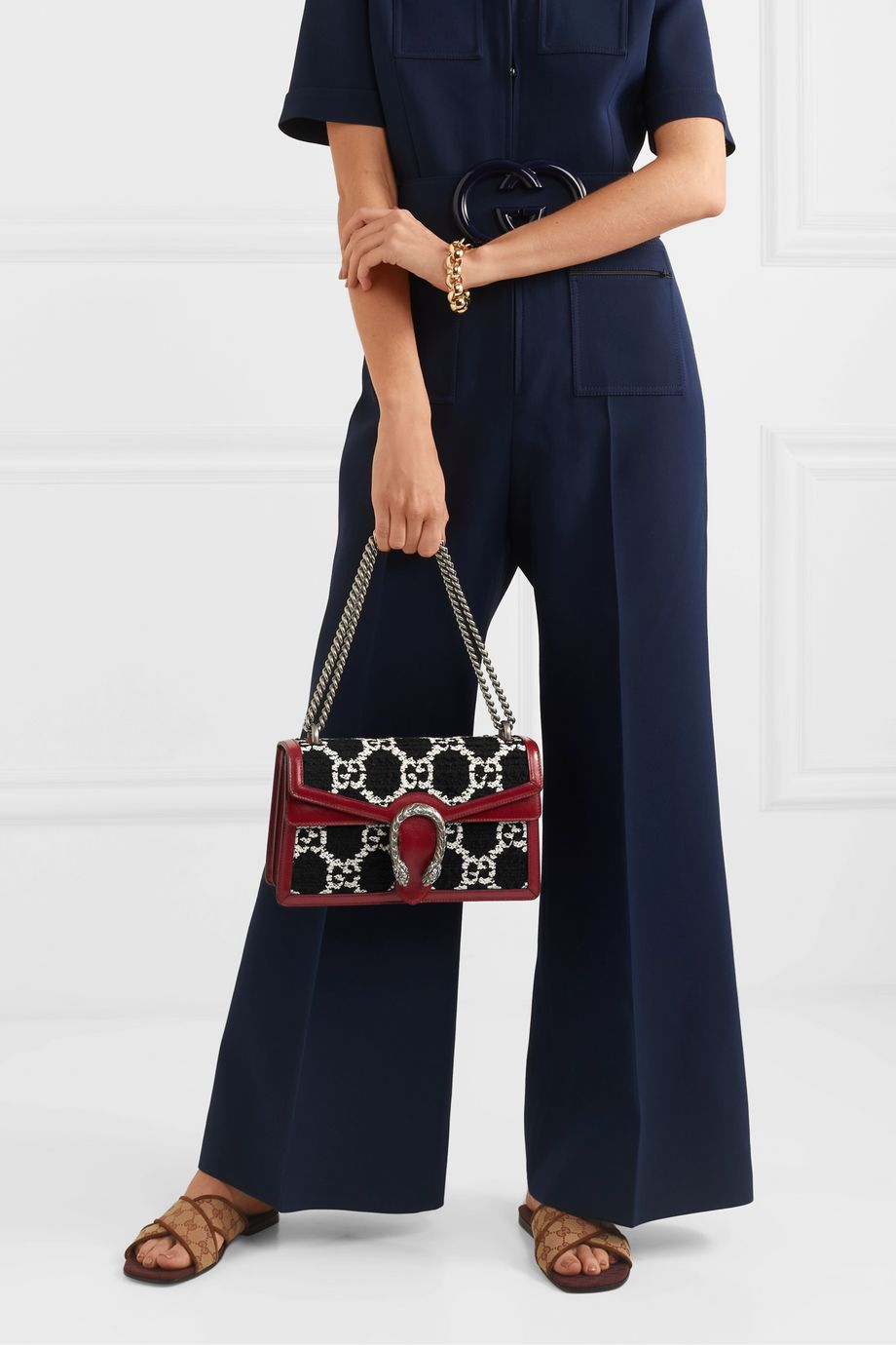 Gucci Dionysus small leather-trimmed tweed shoulder bag