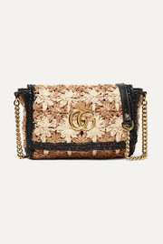 Gucci GG Marmont leather-trimmed raffia shoulder bag