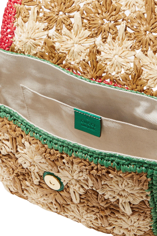Gucci GG Marmont leather-trimmed raffia shoulder bag