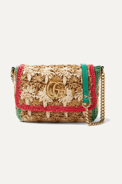 cb757f541d4 Gucci | GG Marmont leather-trimmed raffia shoulder bag | NET-A ...