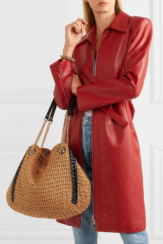 Gucci Sac en raphia et en cuir GG Marmont Large