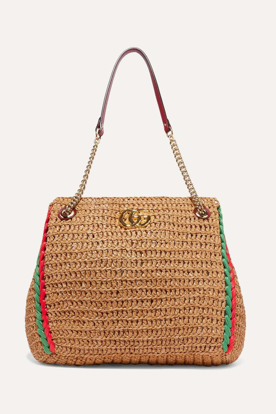 Gucci GG Marmont large leather-trimmed raffia tote