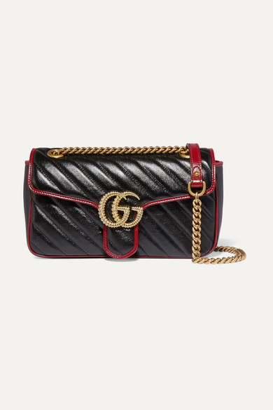 Gg Marmont Small Quilted Textured Leather Shoulder Bag by Gucci