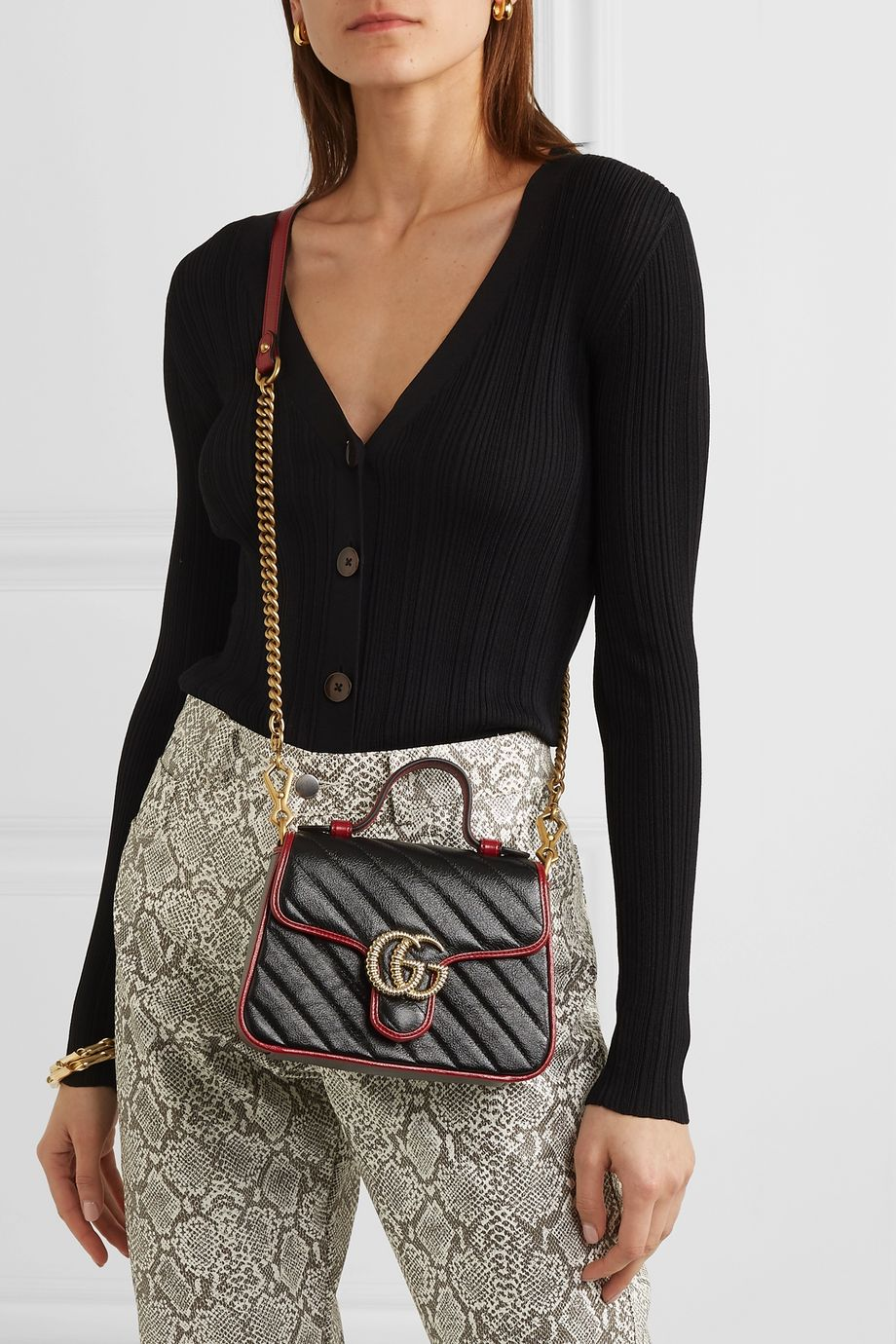 Gucci GG Marmont mini quilted textured-leather shoulder bag