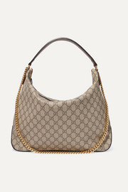 Linea A large leather-trimmed printed coated-canvas shoulder bag