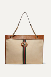 Rajah large embellished leather-trimmed canvas tote