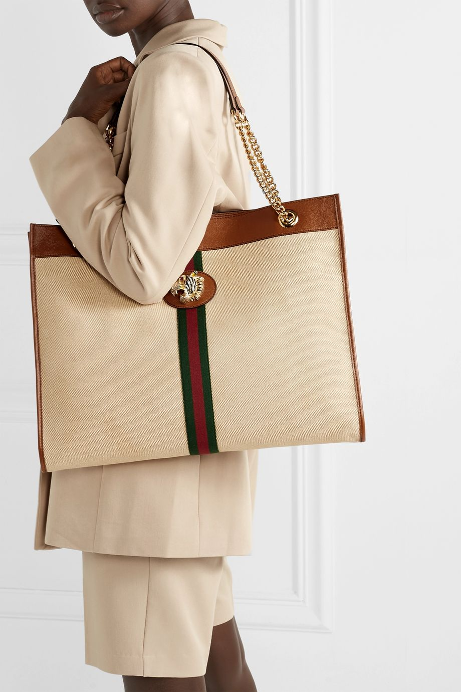Gucci Rajah large embellished leather-trimmed canvas tote