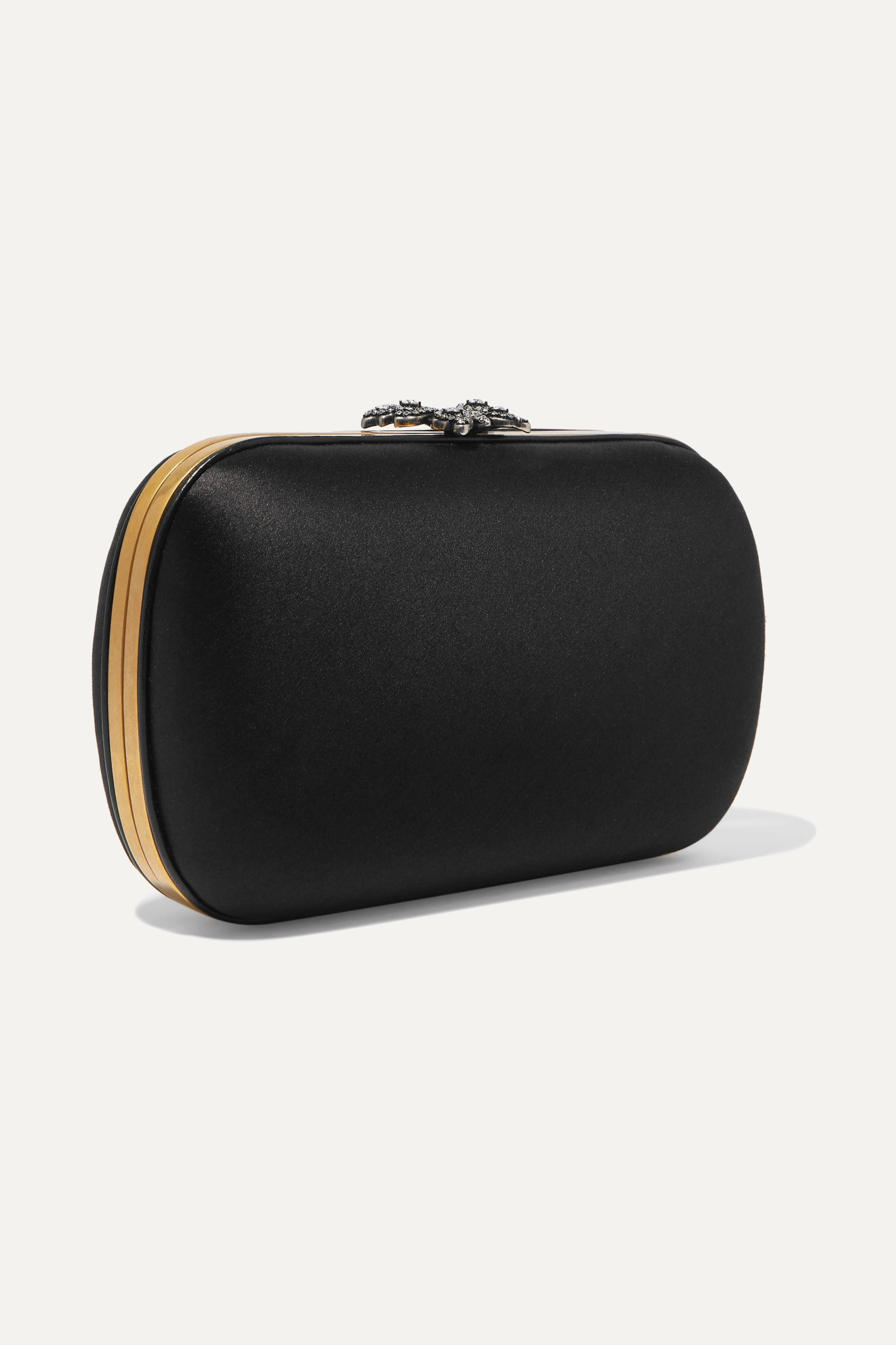 Gucci Broadway Clutch aus Satin mit Kristallen