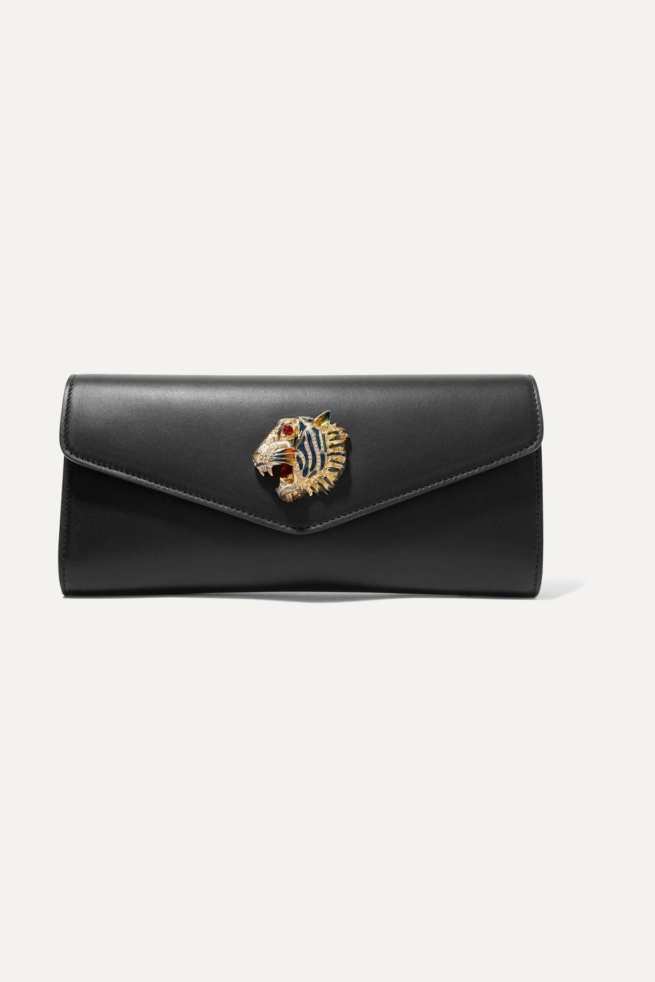 Gucci Broadway Clutch aus Leder mit Kristallen