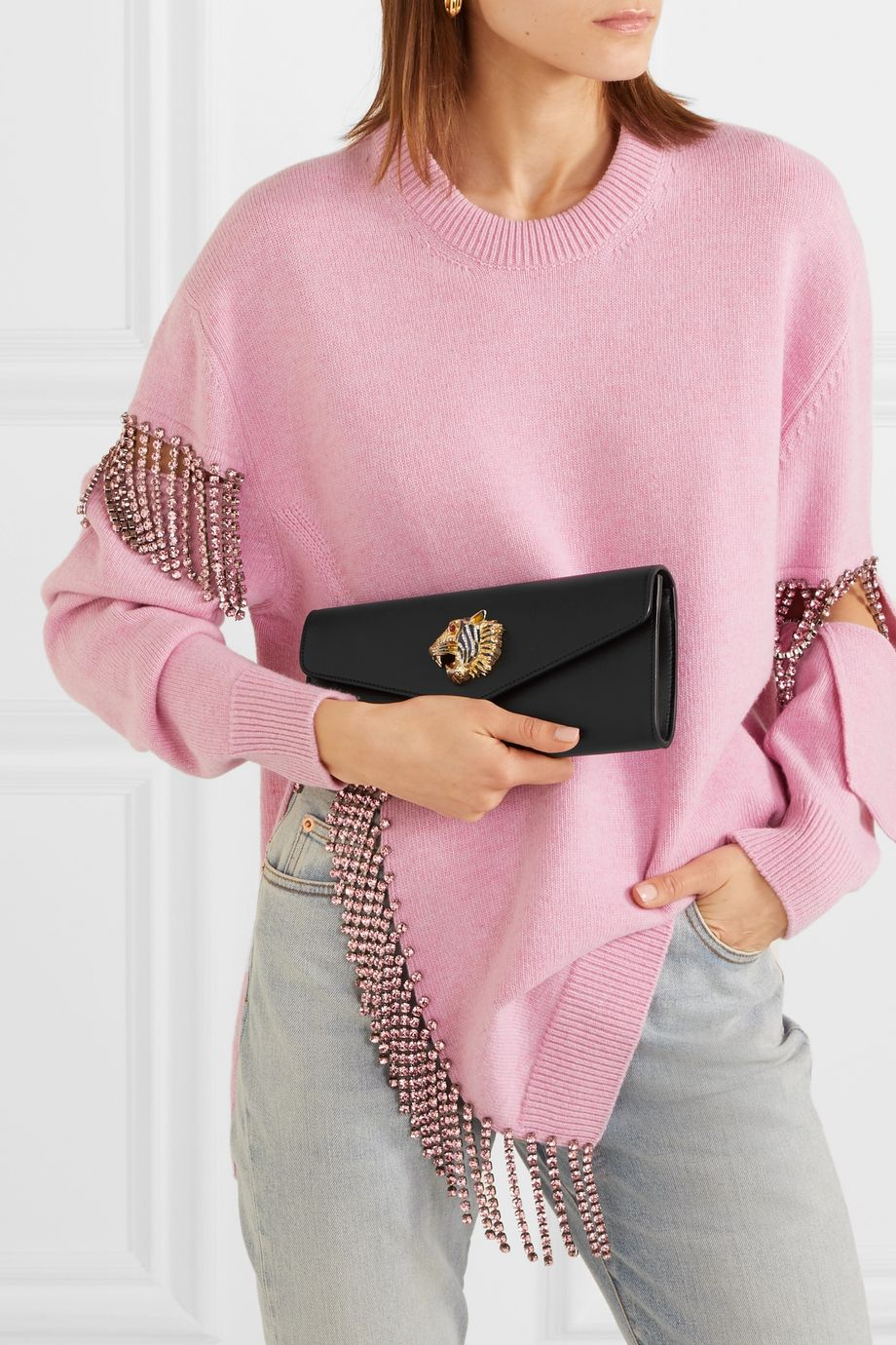 Gucci Broadway crystal-embellished leather clutch