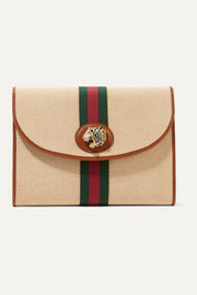 Gucci Rajah leather-trimmed embellished canvas clutch