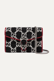 Gucci Dionysus patent leather-trimmed bouclé-tweed shoulder bag
