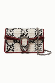 Dionysus super mini leather-trimmed tweed shoulder bag