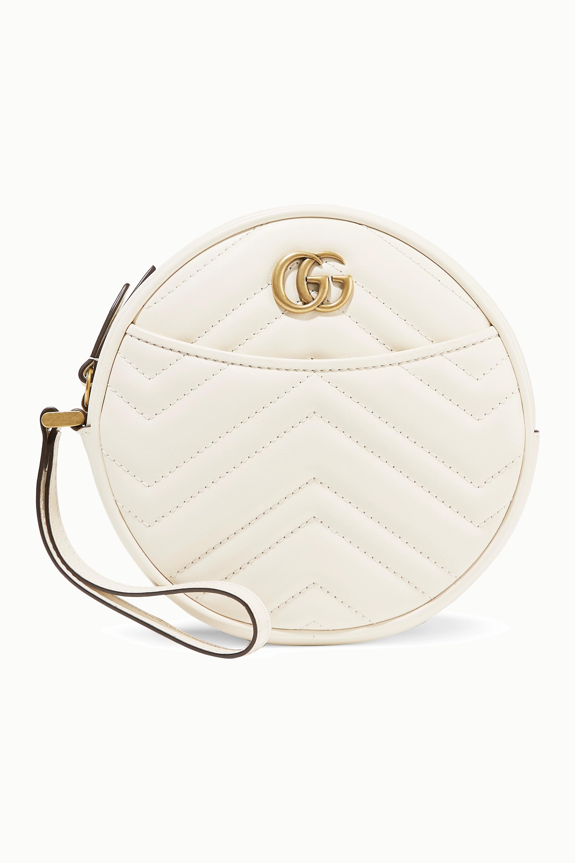 Gucci GG Marmont Circle große Clutch aus gestepptem Leder