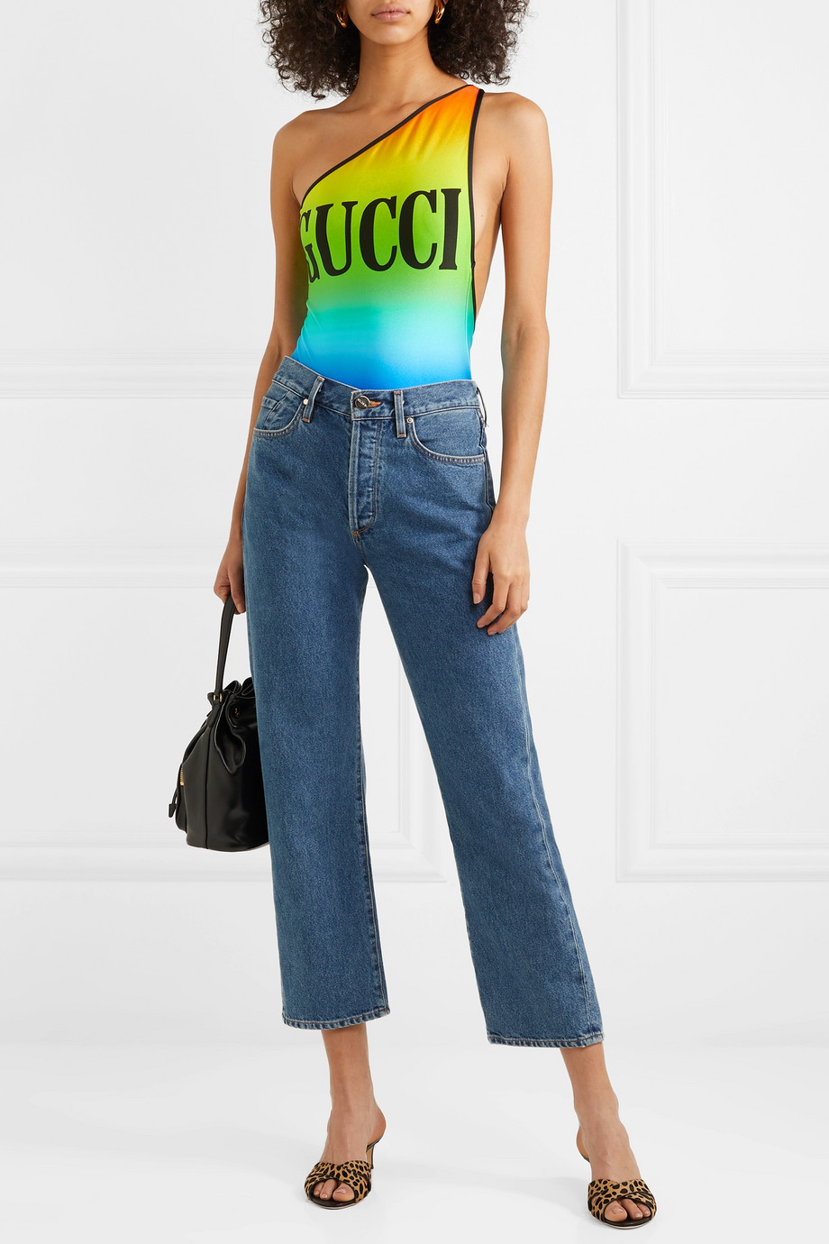Gucci One-shoulder printed stretch bodysuit