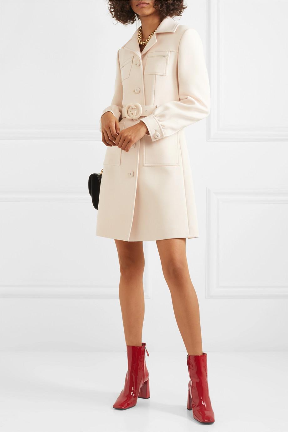 Gucci 配腰带羊毛绉纱外套