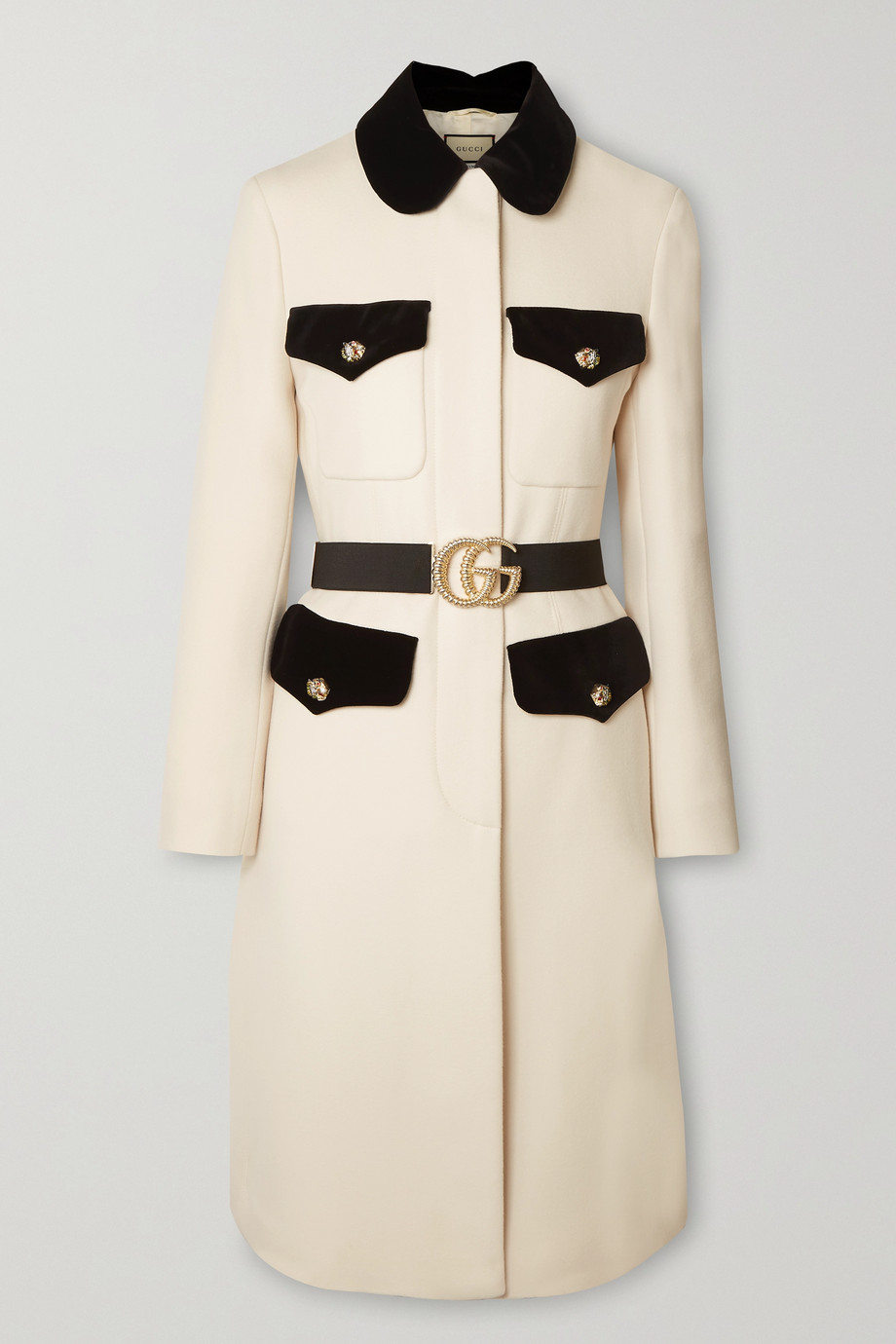 Gucci Belted velvet-trimmed wool coat