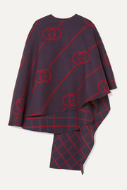 Reversible wool and silk-blend cape
