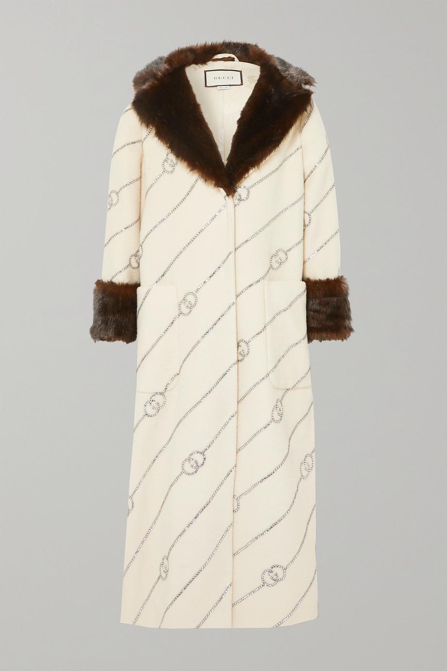 Gucci Faux fur-trimmed crystal-embellished wool-felt coat