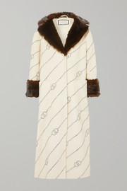 Gucci Faux fur-trimmed crystal-embellished wool-felt coat