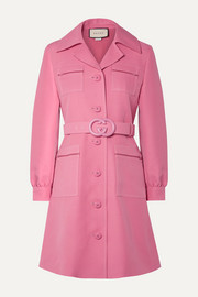 Gucci Belted wool and silk-blend cady mini dress