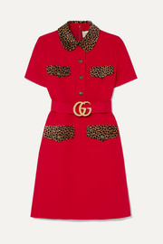 Gucci Belted leopard-print cotton-trimmed wool and silk-blend mini dress