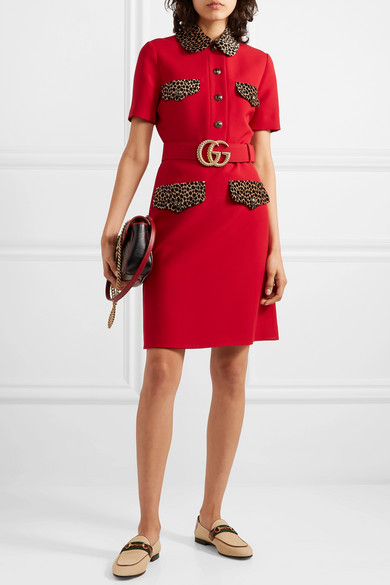 ea6865aabb465a Gucci | Belted leopard-print cotton-trimmed wool and silk-blend mini ...