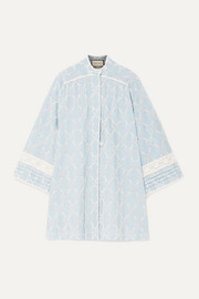 Gucci Crochet-trimmed broderie anglaise cotton-chambray mini dress